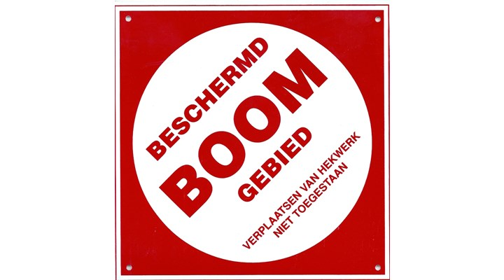 """BORD """"BESCHERMD BOOMGEBIED"""" 20X20 CM"""